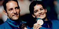 Sydney 2000 Bronze medallists in the XD Simon Archer + Jo Goode of the UK